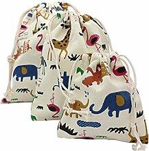 Yalulu 5 Stück Gemischt Natur Baumwoll Jutesäckchen Leinen-Säckchen Geschenk Tasche für Adventskalender, Jutebeutel, Stoffbeutel, Natur Säckchen, Geschenksäckchen, Sack, Beutel,Baumwollbeutel (5 Stück,9.64*12inch)