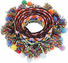 Yalulu 5 Yards Retro Pom Pom Pompom Hairball Ball Lace Spitze Quaste Trim Band Spitzenborte für DIY Fertigkeit Dekorieren Nähen Kunst Zubehörteil (#3)