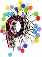 Yalulu 5 Yards Retro Pom Pom Pompom Hairball Ball Lace Spitze Quaste Trim Band Spitzenborte für DIY Fertigkeit Dekorieren Nähen Kunst Zubehörteil (#1)