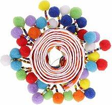 Yalulu 5 Yards Retro Pom Pom Pompom Hairball Ball Lace Spitze Quaste Trim Band Spitzenborte für DIY Fertigkeit Dekorieren Nähen Kunst Zubehörteil (#2)