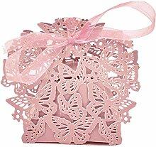 Yalulu 50 pcs Schmetterling Band Hochzeit Party Favor, Hochzeit Geschenk Taschen Schokolade und Geschenk-Boxen für Bridal Dusche, Hochzeit, Party, Geburtstag Geschenk beige (Rosa)