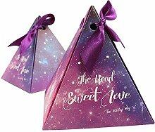 Yalulu 50 pcs Sternenklarer Himmel Dreieckig Band Hochzeit Party Favor, Hochzeit Geschenk Taschen Schokolade und Geschenk-Boxen für Bridal Dusche, Hochzeit, Party, Geburtstag Geschenk (S,7.5*7.5*9.5cm)
