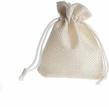 Yalulu 50 Stück Mini Natur Jute Säckchen Leinen Säckchen für Adventskalender, Jutebeutel, Stoffbeutel, Säckchen, Geschenksäckchen, Sack, Beutel (Beige)