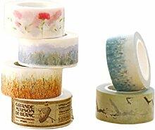 Yalulu 6 Rollen Washi Tape Blumen Dekoband Selbstklebend Multicolor Glitter Band DIY Scrapbooking Dekorieren Aufkleber