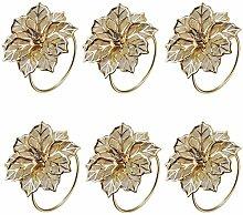 Yalulu 6 Stück Hohle Blumen Serviettenringe Servietten Halter Banquet Serviette Ring Dinner Hochzeits Weihnachten Dekoration Tischdeko