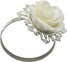 Yalulu 6 Stück Rose Blume Serviettenringe Servietten Halter Banquet Serviette Ring Dinner Hochzeits Hotel Dekoration Party Tischdeko (Silber)