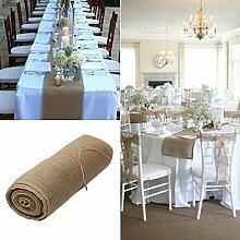 Yalulu Lang Tischläufer Tischband Tischdeko 30 cm Breit, 10 Meter Rolle Jute Natur Dekoration für Party, Hochzeit, Haus, Restauran