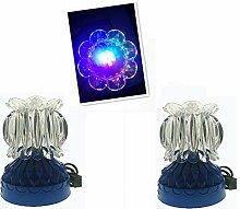 YAMADIE LED Bunte Rotierende Lotus Lampe Krone