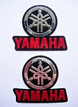 Yamaha 3D Red/Chrom 2Aufkleber Decals–Set