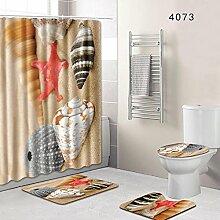 YAN Duschvorhang Set Handbemalte Badezimmer