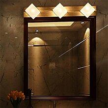 YAN ZHEN LED massiv Holz Spiegel Vorne Lichter Warm White Spiegel Schrank Lichter Badezimmer WC Spiegel Lampe Nachttisch Einfache und moderne Wandleuchte ( größe : 3 Headlights )