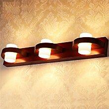 YAN ZHEN Massivholz LED Spiegel Vorne Lichter Spiegel Schrank Lichter Badezimmer Toilette Make-up Spiegelleuchten Moderne minimalistische Wandleuchte ( größe : 3 Headlights )
