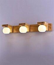 YAN ZHEN Massivholz Spiegel Vorne Lichter LED Spiegel Schrank Lichter Badezimmer Toilette Make-up Spiegelleuchten Treppe Aisle Bedside Wandleuchte ( größe : 3 Headlights )