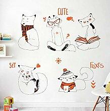 YANCONG DIY Cartoon Handgemalte Fox Wandaufkleber
