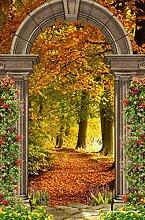 YANCONG Türaufkleber Wald Goldene Laublandschaft;