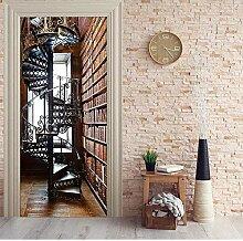 YANCONG Türposter 3D Wendeltreppe Bücherregal