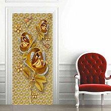 YANCONG Türtapete Goldene Rose Und Schmetterling