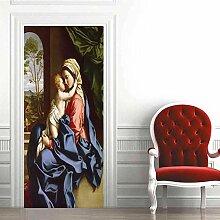 YANCONG Türtapete Jungfrau Maria Und Baby,
