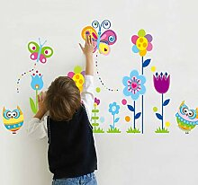 YANCONG Wandaufkleber Cartoon Eule Blume Blumen