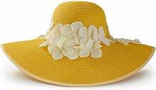 YANFEI Hut Schirmhut gewebter Strohhut Blau, Beige, Braun, Weiß, Hellblau, Gelb Handgefärbte Blumen Sonnenschutz UV-Schutz atmungsaktiv (Farbe : F)