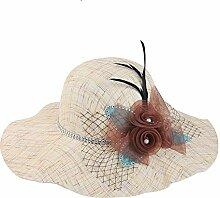 YANFEI Hut Visier-Hut bequem und Breathable Rot, kakifarbig, hellgelb, helle Kaffee-Farbe, Sonnenschutz UVschutz-schöne Mode atmungsaktiv (Farbe : B)