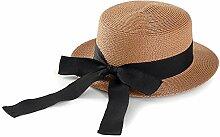 YANFEI Hut Visier Hut gewebt Strohhut beige, weiß, schwarz, Schokolade Flat Top Big Bow Sonnenschutz UV-Schutz atmungsaktiv (Farbe : A)