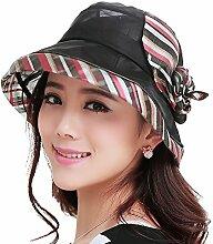 YANFEI Hut Visier Hut Handgefertigte Seidenblumen Kühle Atmungsaktiv Sonnenschutz UV-Schutz Schöne Mode atmungsaktiv (Farbe : Schwarz)