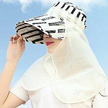 YANFEI Hut Visier Hut Sonnenschutz UV-Schutz Im Freien Zusammenklappbar atmungsaktiv (Farbe : Weiß)