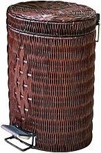 YANFEI Mülleimer Rattan Handgemacht Kreativ Oval Form Braun Flip-Open Cover Fußpedal 5L, 12L , B