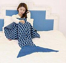 YANGLAN Pfau Muster Meerjungfrau Decke, Gestrickte