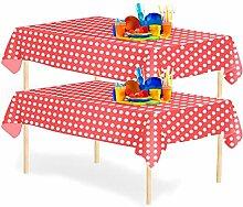 YANGTE Einweg Tischdecke mit Punkten 6 Stück,Rot