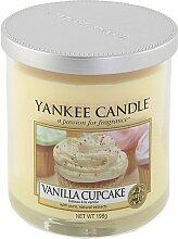 Yankee Candle 1162790E Decor S Pillar Vanilla Cupcake Duftkerze, Glas, sonnengelb, 8,3 x 8,3 x 8,7 cm