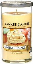 Yankee Candle 1221193E Decor M Pillar Vanilla Cupcake Duftkerze, Glas, sonnengelb, 8,3 x 8,3 x 14 cm