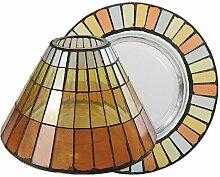 Yankee Candle 1521334 Kerzenteller mit Lampenschirm, Glas, 8,8 x 12 x 8,8 cm, orange / gelb