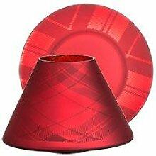 Yankee Candle 1521358 Tartan Flicker sml S/T Lampenschirm Set, Glas, Rot, 11.8 x 11.8 x 8.2 cm