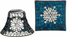 Yankee Candle 1521443 Winter Glimmer Lrg S/T Lampenschirm Set, Glas, Blau, Silber, 15.9 x 15.9 x 11.7 cm