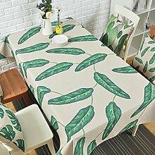 YANLIU Grüne Pflanze Leinen Tischdecke, Pastoral Wind kreative Tischdecke, Wohnzimmer Couchtisch Tuch, 1, 100*140cm