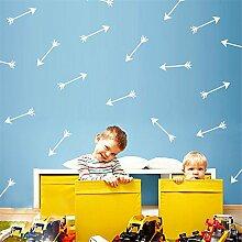 yanqiao 28Stück/Set Pfeile Wand Aufkleber Vinyl Schriftzug Tapete Home Dekor für Wohnzimmer Schlafzimmer Küche Kinder Zimmer der Kinderzimmer Decor, Gold Weiß