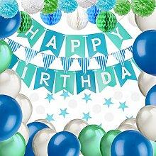 YANSHON Geburtstagsdeko, Blau Alles Gute zum