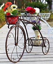 YANZHEN Eisen Blumentopf Regal Eisen Fahrrad Blume Rack Europäischen Eisen Blumentopf Regal Wohnzimmer Balkon Blumentöpfe Regal Pflanzentreppe ( Farbe : Messing , größe : 83*55.3*23cm )