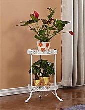 YANZHEN Europäische 2-Tier Schmiedeeisen Boden Flower Pot Regal, Pflanzen stehen, Blumenregal für Balkon, Indoor, Wohnzimmer Leiter Pflanzentreppe ( Farbe : Weiß , größe : S )