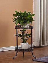 YANZHEN Europäische 2-Tier Schmiedeeisen Boden Flower Pot Regal, Pflanzen stehen, Blumenregal für Balkon, Indoor, Wohnzimmer Leiter Pflanzentreppe ( Farbe : Bronze , größe : S )