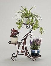 YANZHEN Europäische Eisen 3-Tier-Boden Blumentopf Regal, Pflanzen stehen, Blumenregal für Gartendekoration, Wohnzimmer, Balkon, Interieur Pflanzentreppe ( Farbe : Bronze )