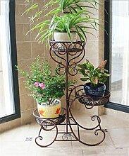 YANZHEN Europäische - Stil Eisen Mehrstöckige Blumenregal Balkon Blumenregale Massivholz Blumentopf Racks Pflanzentreppe ( Farbe : Messing )