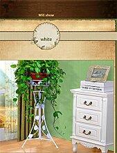 YANZHEN Europäische Stil Iron Flower Frame Indoor Wohnzimmer Blumenregale Einschichtige Flowerpot Rack Pflanzentreppe ( Farbe : Weiß , größe : 98.5cm )