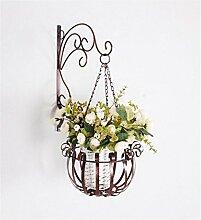 YANZHEN Europäische Wand hängende Blumentopf Rack / Blume Rack Eisen Blume Regal Balkon Wand Rack mit Körbe von Pflanzen / Bonsai Regal Pflanzentreppe ( Farbe : A )