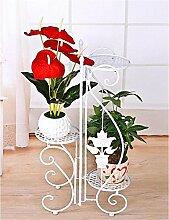 YANZHEN Europäischer Stil Garten Eisen Blumenregale Mehrstöckige Balkon Blumenregal Pflanzentreppe ( Farbe : Weiß )