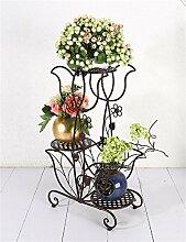 YANZHEN European - Stil Creative Eisen 3 - Tier - Boden Blumentopf Regal, Pflanzen stehen, Blumen - Rack für Balkon, Indoor, Büros Pflanzentreppe ( Farbe : Bronze )