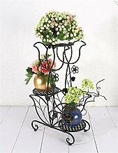 YANZHEN European - Stil Creative Eisen 3 - Tier - Boden Blumentopf Regal, Pflanzen stehen, Blumen - Rack für Balkon, Indoor, Büros Pflanzentreppe ( Farbe : Schwarz )