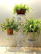 YANZHEN European-Stil Eisen 3-Tier-Boden Flower Pot Regal, Pflanzen stehen, Blumen-Rack für Balkon, Wohnzimmer Pflanzentreppe ( Farbe : Weiß )